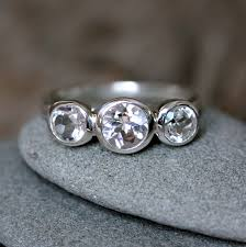 white stone rings images White topaz and sterling silver three stone ring white gemstone