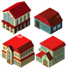 3d design for different styles of houses illustration royalty free