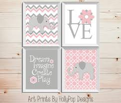 Pink And Gray Nursery Decor Pink Gray Nursery Decor Baby Nursery Wall Decor Elephant