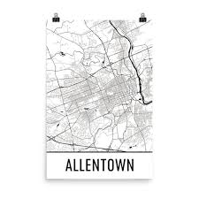 Map Art Allentown Pa Street Map Poster Wall Print By Modern Map Art