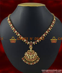 necklace with pink stone images Traditional aiympon big white pink stone attigai imitation jpg