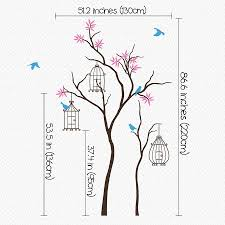 tree with birds and birdcage wall decal by wall art tree with birds and birdcage wall decal