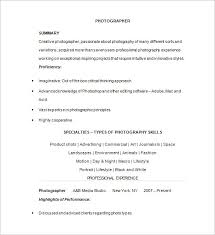 photographer resume template u2013 17 free samples examples format