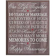 tenth anniversary gifts 10th wedding anniversary wall plaque gifts for