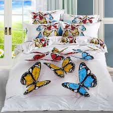 modern designs 3d colorful butterfly white bedding set size