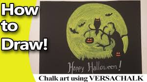 how to make a creepy halloween chalk sign with full moon and bats