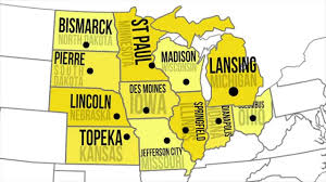 Map Of The United States Capitals by Midwestern Capitals U0026 States Youtube