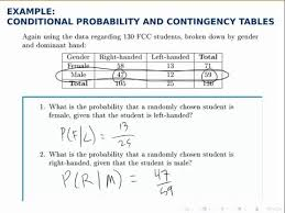 probability example conditional probability with a contingency