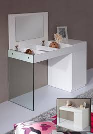 Glass Vanity Table With Mirror Volare Modern White Floating Glass Vanity With Mirror