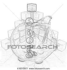 picture of pencil drawing of a cubic diagram structure and piggy