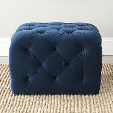 navy blue and white ottoman great tufted navy blue velvet cube ottoman within navy blue tufted