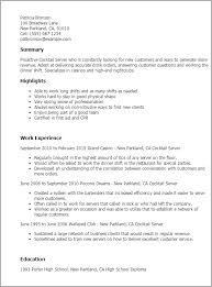 best solutions of cocktail waitress resume samples on job summary