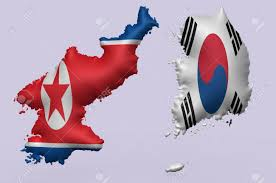 Korea On Map North Korea And South Korea S Flags Super Embossed On Map Of Them