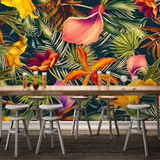 wall paper picture more detailed picture about custom wall mural custom wall mural tropical rainforest plant flowers banana leaves backdrop painted living room bedroom large mural