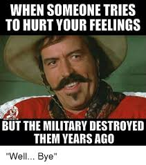 Hurt Feelings Meme - when someone tries to hurt your feelings dki but the military