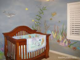 ocean theme baby room mural with dolphin and sea turtle baby