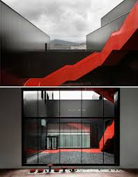 Outer Staircase Design This Jagged Glossy Red Exterior Staircase Is Just The Right