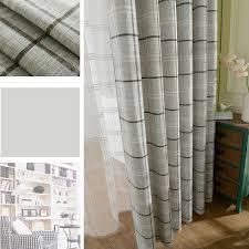 Light Linen Curtains Style Light Gray Cotton Linen Plaid Curtains