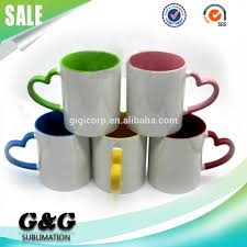 11oz sublimation color inside coffee mug with heart handle buy