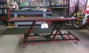 motorcycle lift table plans mc lift table project page 3 custom fighters custom