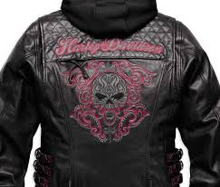 motorcycle riding jackets harley davidson women u0027s scroll skull 3 in 1 leather motorcycle