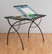Glass Top Drafting Drawing Table Amazon Com Studio Designs Catalina Craft Table In Pewter With