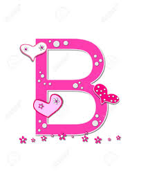 the letter b in the alphabet set heartfull is pink outlined