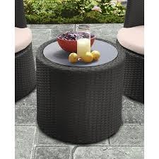 Black Glass Patio Table Armen Living Kailani Outdoor Wicker Patio Table With Black Glass