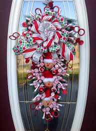 wreath vertical teardrop door swag peppermint