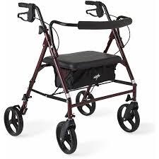senior walkers with wheels medline wide heavy duty rollator walker walmart