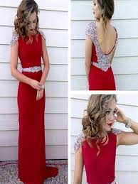 custom made a line round neck cap sleeves red long prom dress red