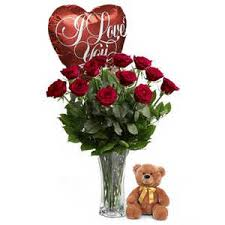 balloons and teddy delivery roses balloon and teddy bouquet same day delivery