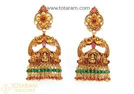 gold dangle earrings temple jewellery 22k gold lakshmi jhumkas 22k gold dangle