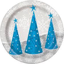 silver snowflake christmas dessert plates christmas party supplies