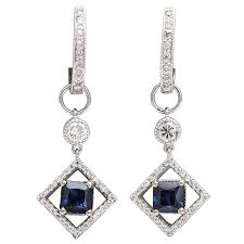 huggie earring sapphire diamond gold huggie earrings with earring charms for sale