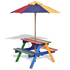 childrens wooden picnic table benches costway garden children picnic table bench w umbrella outdoor kids