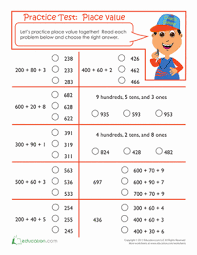 practice test place value worksheet education com