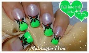 green nail art design summer floral nails french tip youtube