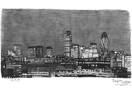 london city skyline at night original drawings prints and