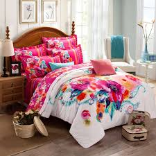 Girls Queen Size Bedding Sets by Deep Pink Turquoise And White Watercolor Painting Exotic Colorful