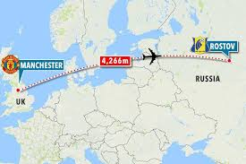 russia football map manchester united set for 4 266 mile trip after drawing