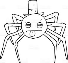 halloween black and white clipart black and white cartoon halloween spider in top hat stock vector