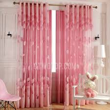 romantic pink sheer curtains leaf pattern for girls room