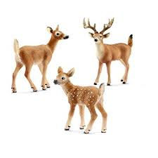 schleich miniature deer figurine set white tailed
