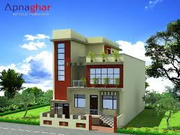 3d elevation triplex house design giving proper perspective of