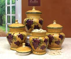 Kitchen Canisters Ceramic Amazon Com Tuscany Grapes 4pc Canisters Kitchen Decor Set