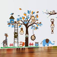 Monkey Decor For Nursery Owl Monkey Squirrel Giraffe Tree Tree Wall Stickers Nursery