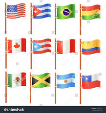South America Flags Flags World North South America Set Stock Vector 156031541