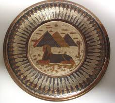 egyptian handmade copper and mixed metals plate with ad