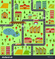 cartoon illustration map city different houses stock vector